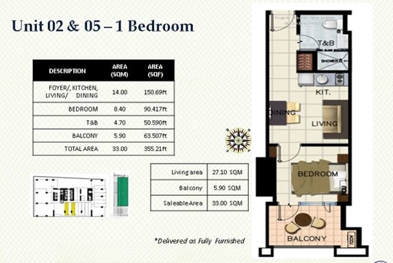 One bedroom floor plan Hotel