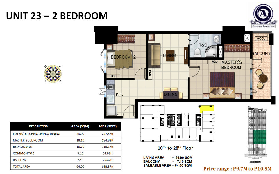 Unit 23 - 2 bedroom