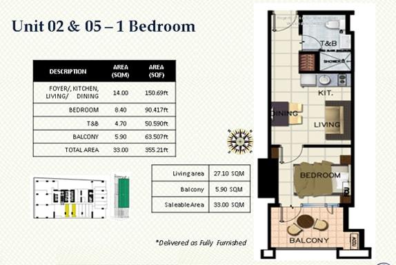 One bedroom floor plan Hotel